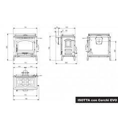 Estufa de Leña Nordica Isotta con Cerchi Evo